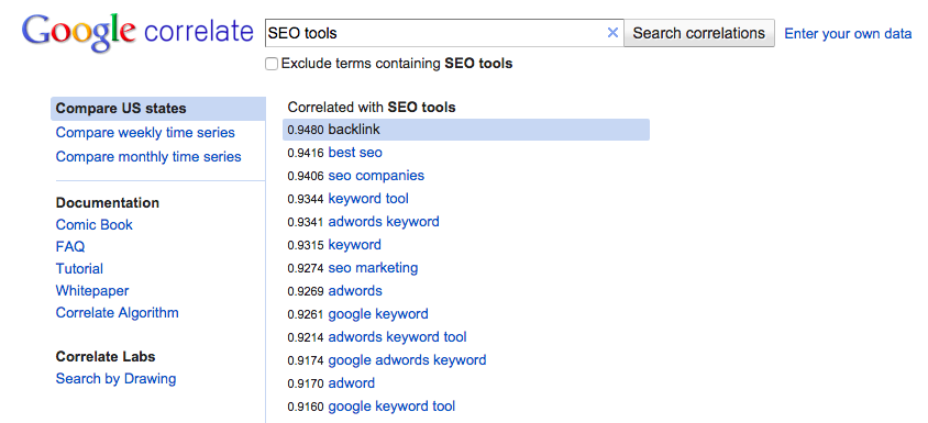 keyword research google correlate