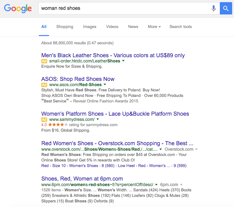 google search result woman red shoes three advertisements from google adwords